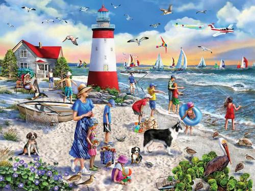 """Lighthouse Beach"" 550 Piece Jigsaw Puzzle | White Mountain"