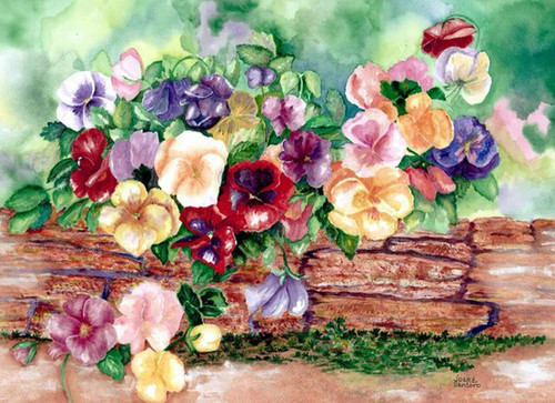 """Pansies in Springtime"" 100 Piece *Whimsy Cut* Wooden Jigsaw Puzzle 