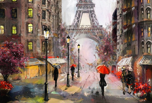 """""""Rainy day in Paris"""" 100 Piece *Whimsy Cut* Wooden Jigsaw Puzzle 