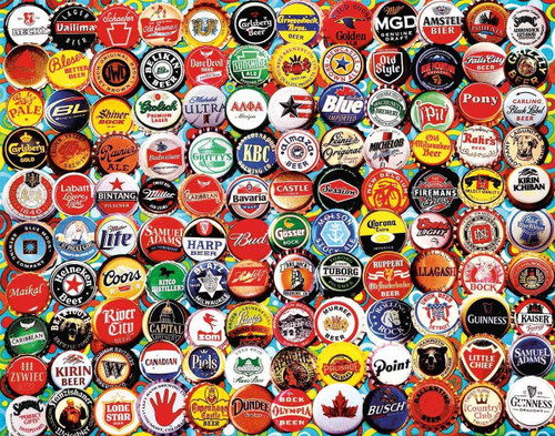 """Beer Bottle Caps"" 550 Piece Jigsaw Puzzle 