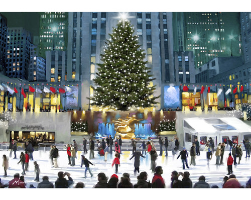 """""""Skating at Rockefeller Center"""" 500 Piece Wentworth Wooden Jigsaw Puzzle"""