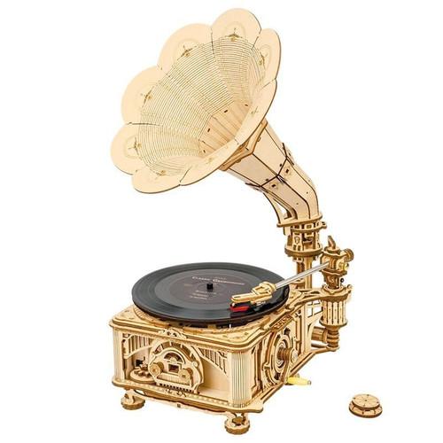 Gramophone Deluxe Mechanical Wooden Model Kit | LKB01 | Rokr