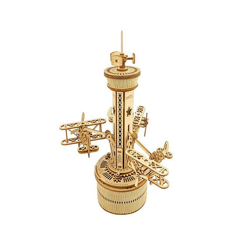 Airplane Control Tower Mechanical Wooden Music Box Kit | AMK41 | Rokr