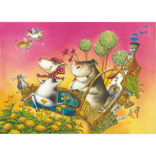 """Flying Cows"" 65 Piece Premium Wooden Jigsaw Mini Puzzle 