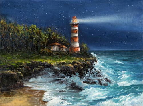 """""""Lighthouse By The Sea"""" 500 Piece *Whimsy Cut* Wooden Jigsaw Puzzle 