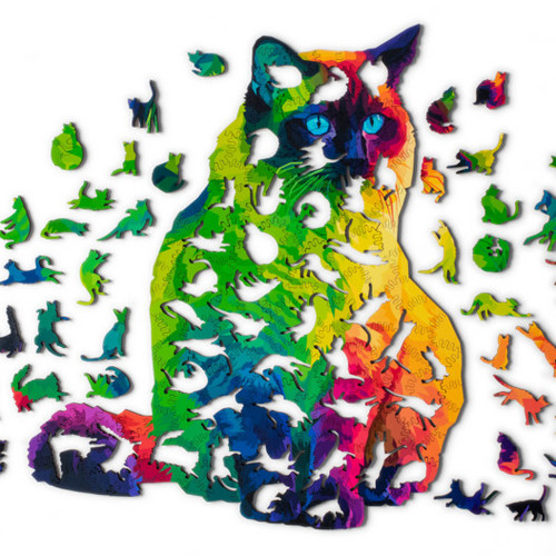 """Herding Cats"" 224 Piece Wooden Jigsaw Puzzle (Full of Whimsies!) 