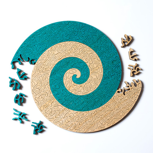 """Spiral"" 166 Piece Wooden Jigsaw Puzzle *Maze Style Cut* | Nervous System"