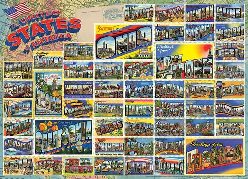 """Vintage American Postcards"" 1000 Piece Jigsaw Puzzle | Cobble Hill"