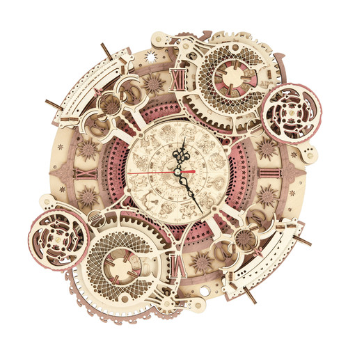 """Zodiac Wall Clock Time Engine"" DIY Mechanical Wooden Model Kit 