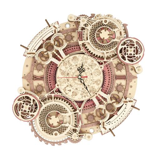 """Zodiac Wall Clock Time Engine"" DIY Mechanical Wooden Model Kit | LC601 | Rokr"