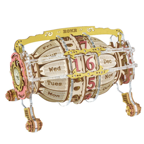 """Time Engine Desk Clock & Calendar"" DIY Mechanical Wooden Model Kit | LC801 | Rokr"