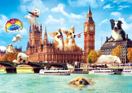 """Dogs in London"" 1000 Piece Jigsaw Puzzle 
