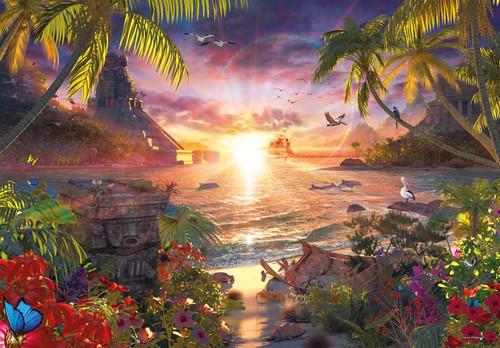 """Paradise Sunset"" 18,000 Piece Jigsaw Puzzle | 109"" x 75.5"" | Ravensburger"