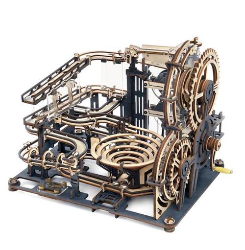 """Marble Night City"" Mechanical Wood/ Acrylic Marble Run Kit | LGA01 | Rokr"