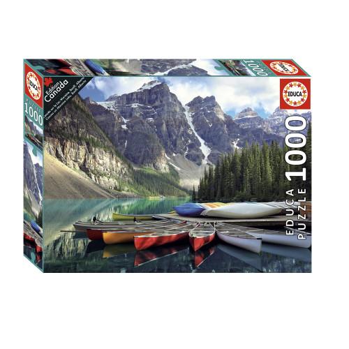 """Canoes on Moraine Lake, Banff Alberta"" 1000 Piece Jigsaw Puzzle | Educa"