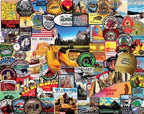 """National Park Badges"" 1000 Piece Jigsaw Puzzle | White Mountain"