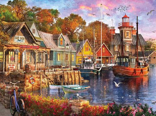 """Harbor Evening"" 1000 Piece Jigsaw Puzzle | White Mountain"