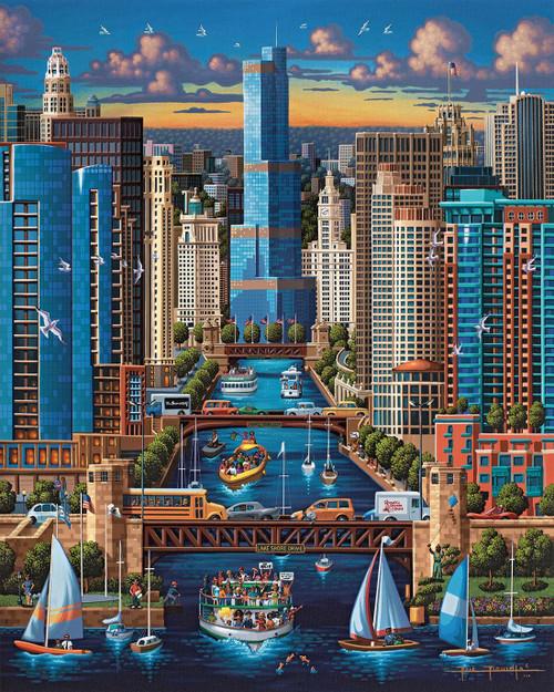 """Chicago River"" 500 Piece Jigsaw Puzzle | Dowdle"