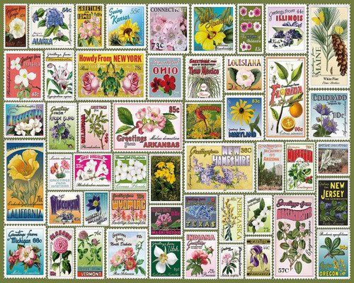 """""""State Flower Stamp"""" 1000 Piece Jigsaw Puzzle 