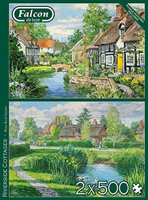 """""""Riverside Cottages"""" *Two-in-One* 2x 1000 Piece Jigsaw Puzzles 