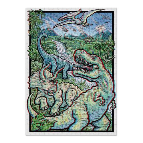 """""""Dinosaurs"""" 500 Piece *Stereoscopic 3D Effect* Jigsaw Puzzle 