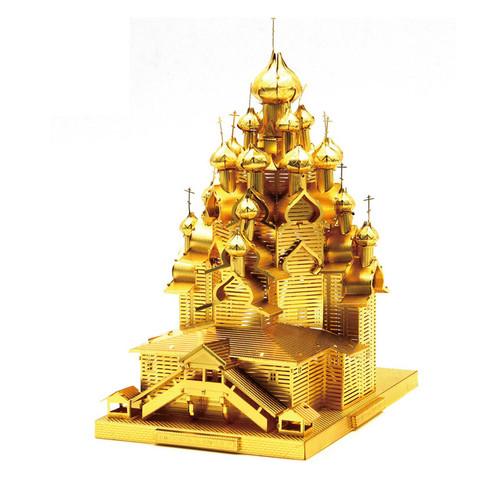 """Kizhi Pogost"" Church of the Transfiguration *Gold* Metal Model Kit | Microworld"