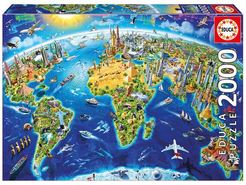 World map representing all the major landmarks