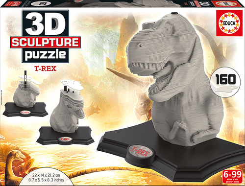 3D T-Rex Sculpture Jigsaw Puzzle, 160 Pieces, Educa