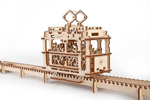 Tram with Rails Mechanical Wooden Model Tram | UGears