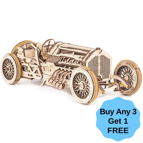 U-9 Grand Prix Car Mechanical Wooden Model Kit | UGears