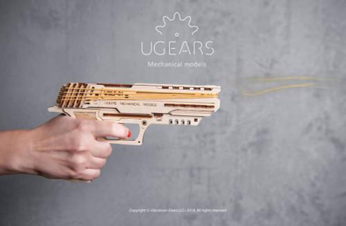 Wolf-01 Mechanical Wooden Model Rubber Band Handgun Kit | UGears