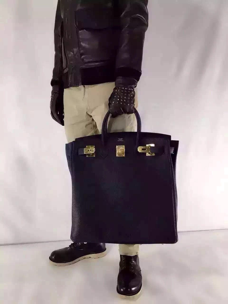 7654fbadcdc Hermes Black Haut a Courroies Bag 40cm Togo Gold Hardware