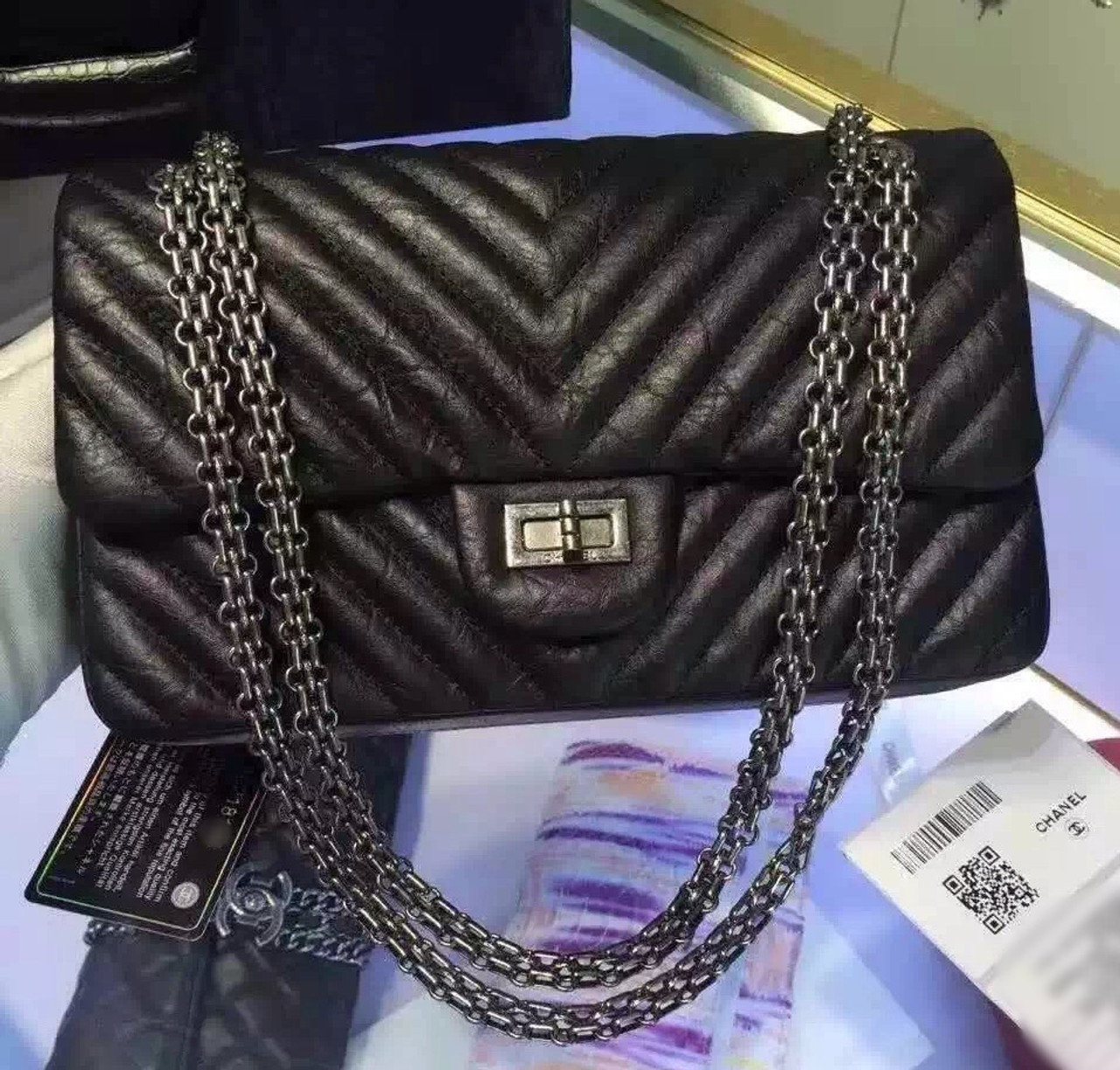2f3c13357231 Chanel Black V Quilted Aged Calf Chevron Flap Bag with Silver Hardware Black