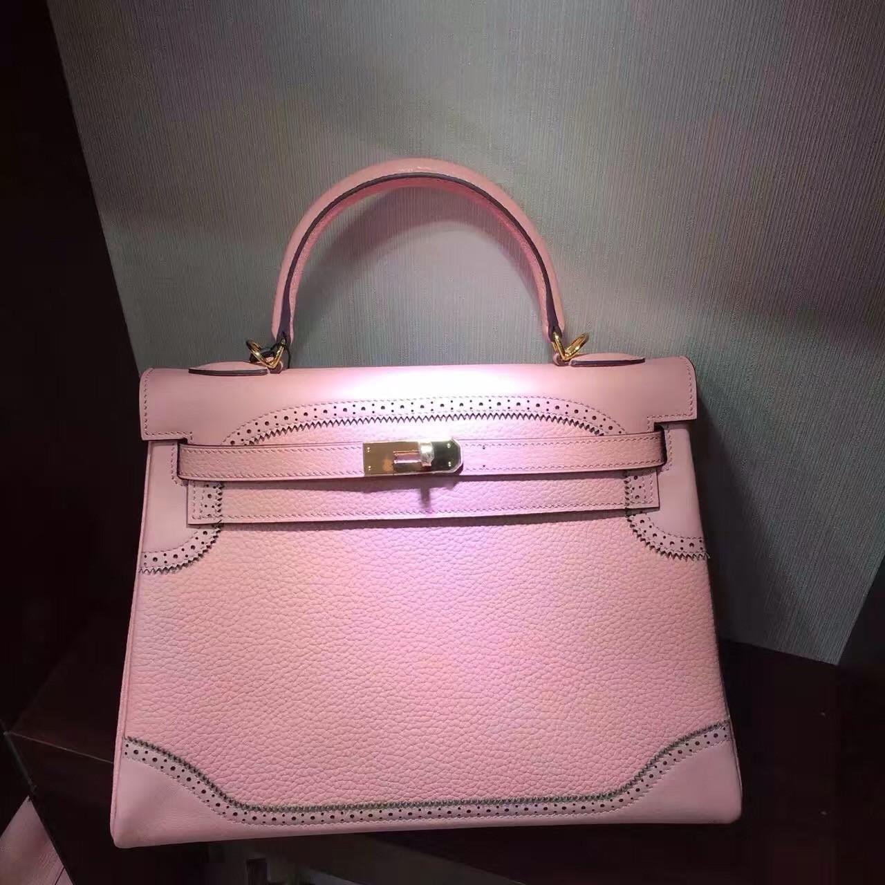41448b619125 Hermes Limited Edition Rose Sakura 3Q Ghillie Kelly 32cm Togo Palladium  Hardware