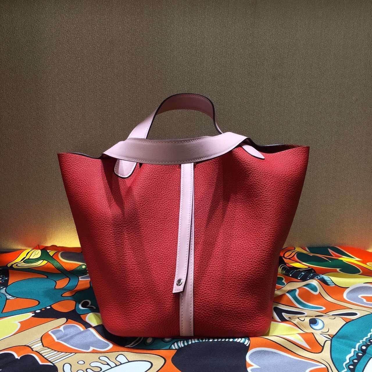 7455b29a5ee3 Hermes Rose Sakura 3Q Swift  Rouge Vif Togo Picotin Lock GM Togo Leather Bag