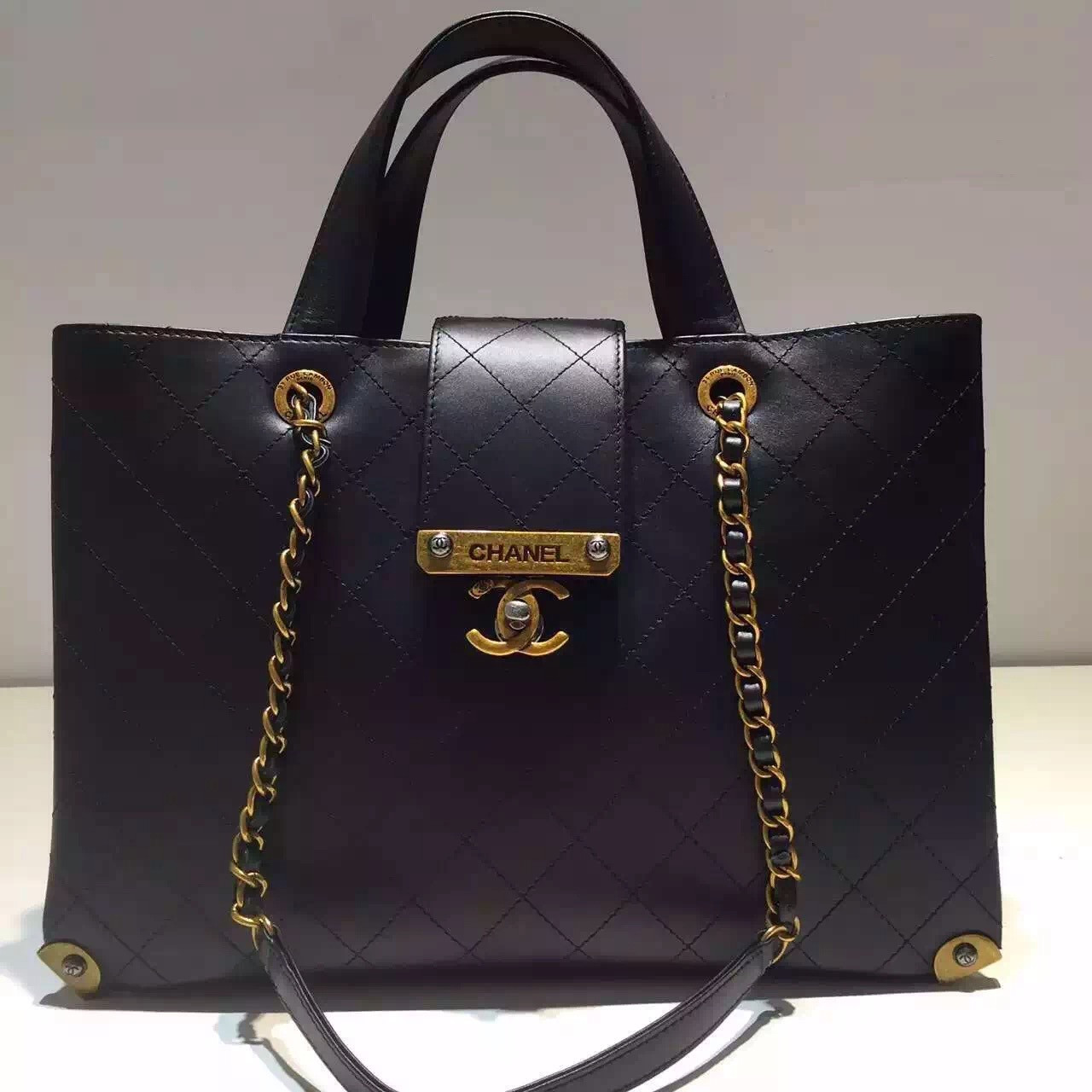 b77874d87729 Chanel Large Shopping Bag Lambskin, Gold & Ruthenium Metal Black A93518