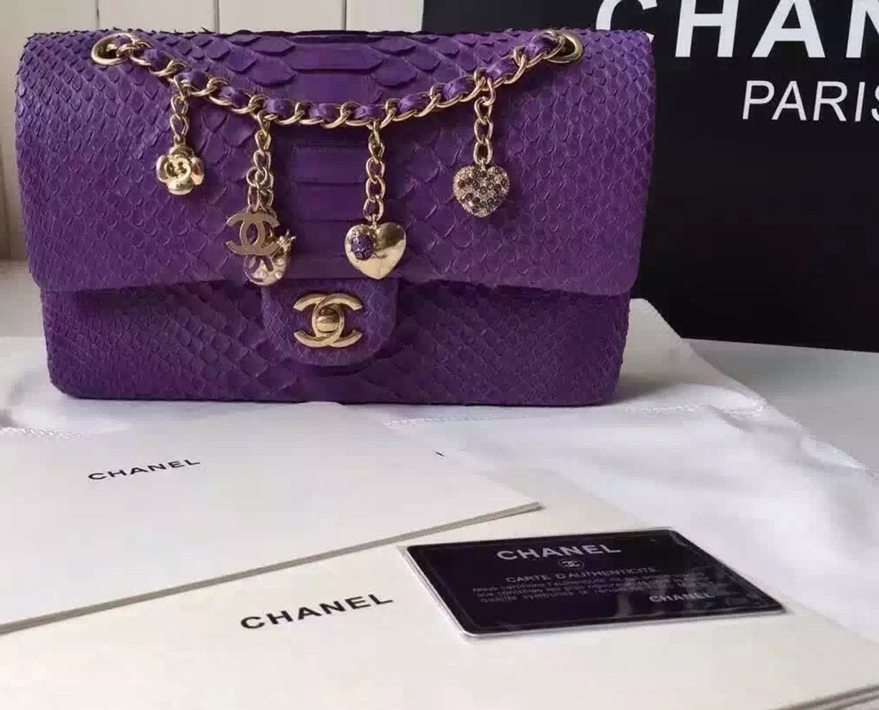 7f1ebcf26035 CHANEL Classic Flap Bag PYTHON Purple with charms - Bella Vita Moda