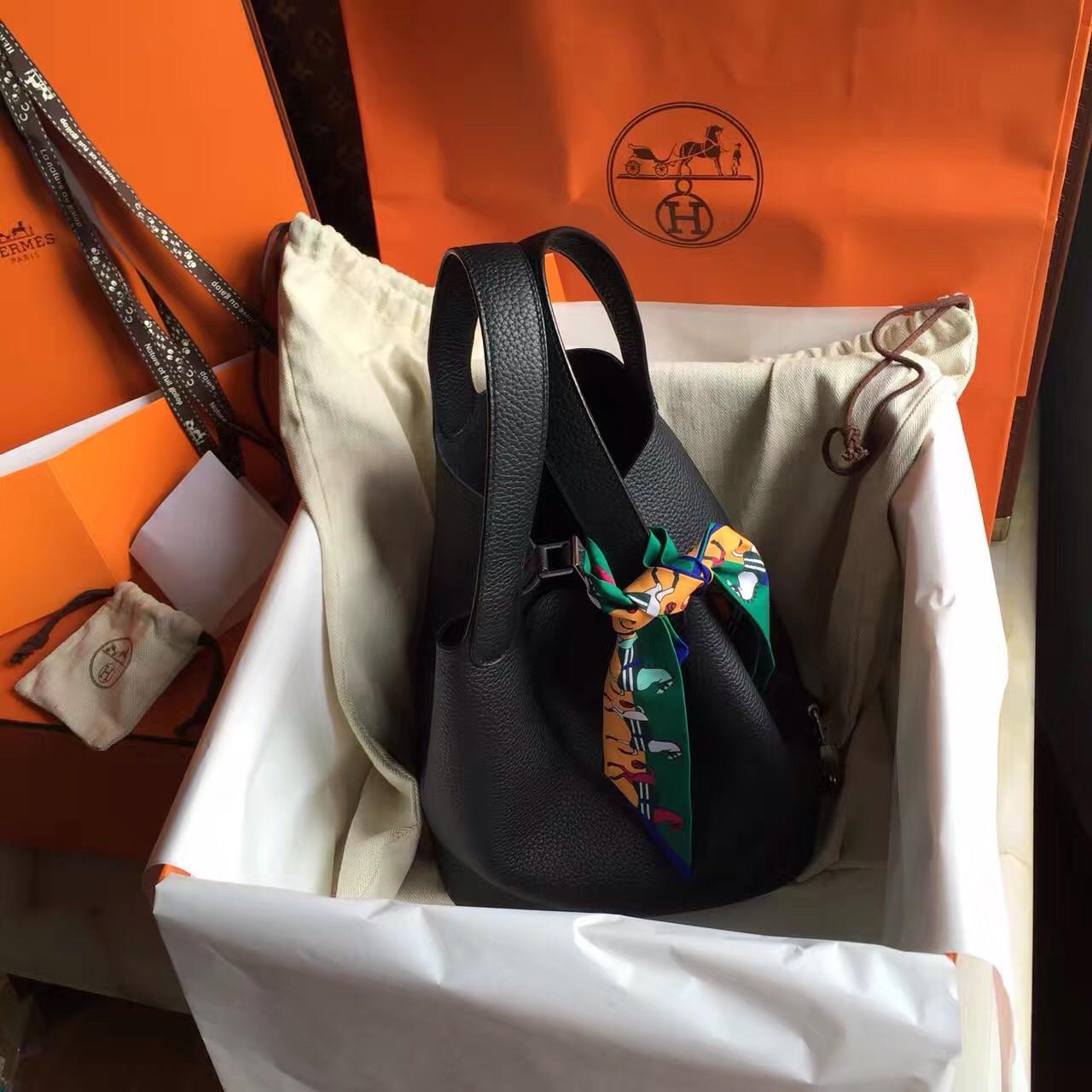 0768c3e6ac56 Hermes Black Picotin Lock MM Togo Leather Bag - Bella Vita Moda