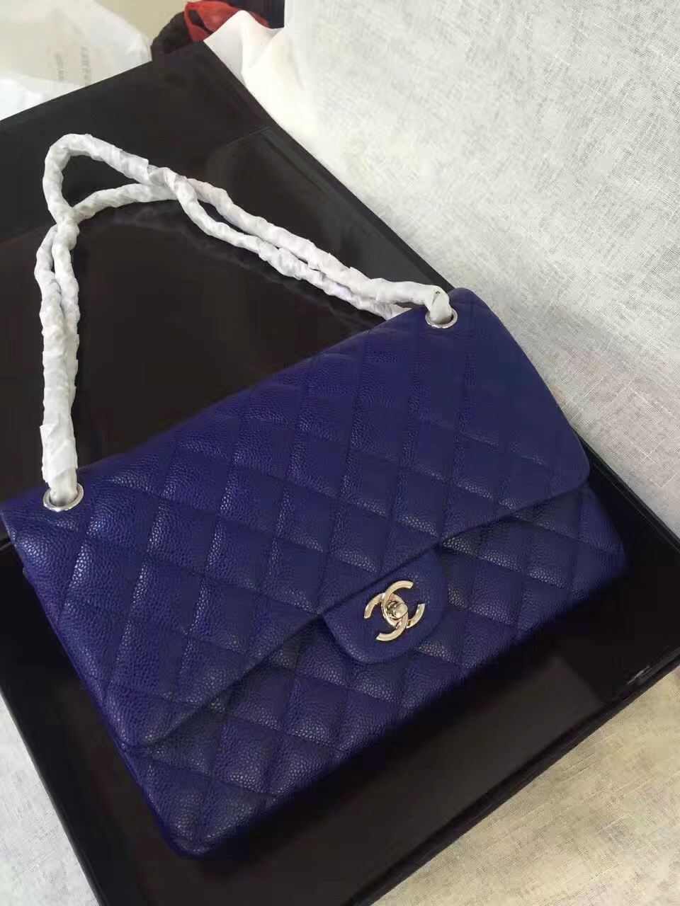 228f180300ece6 Chanel Reissue 2.55 Flap Bag size 227 in Blue Caviar Leather - Bella ...