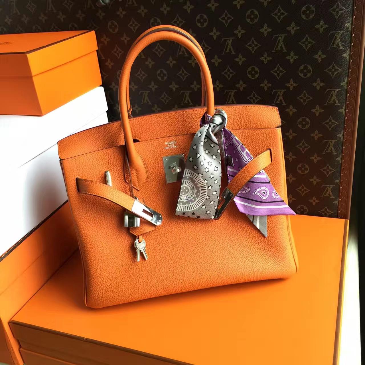 Hermes Orange Birkin Bag 30cm Palladium Hardware a33c92328db5