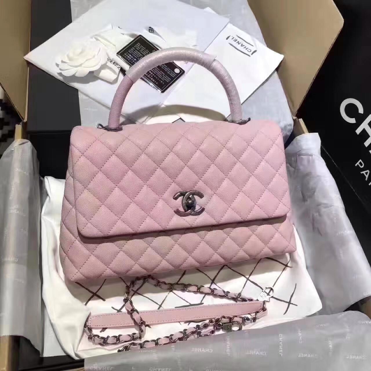 181d1a50c548 Chanel Flap Bag With Top Handle Pink - Bella Vita Moda
