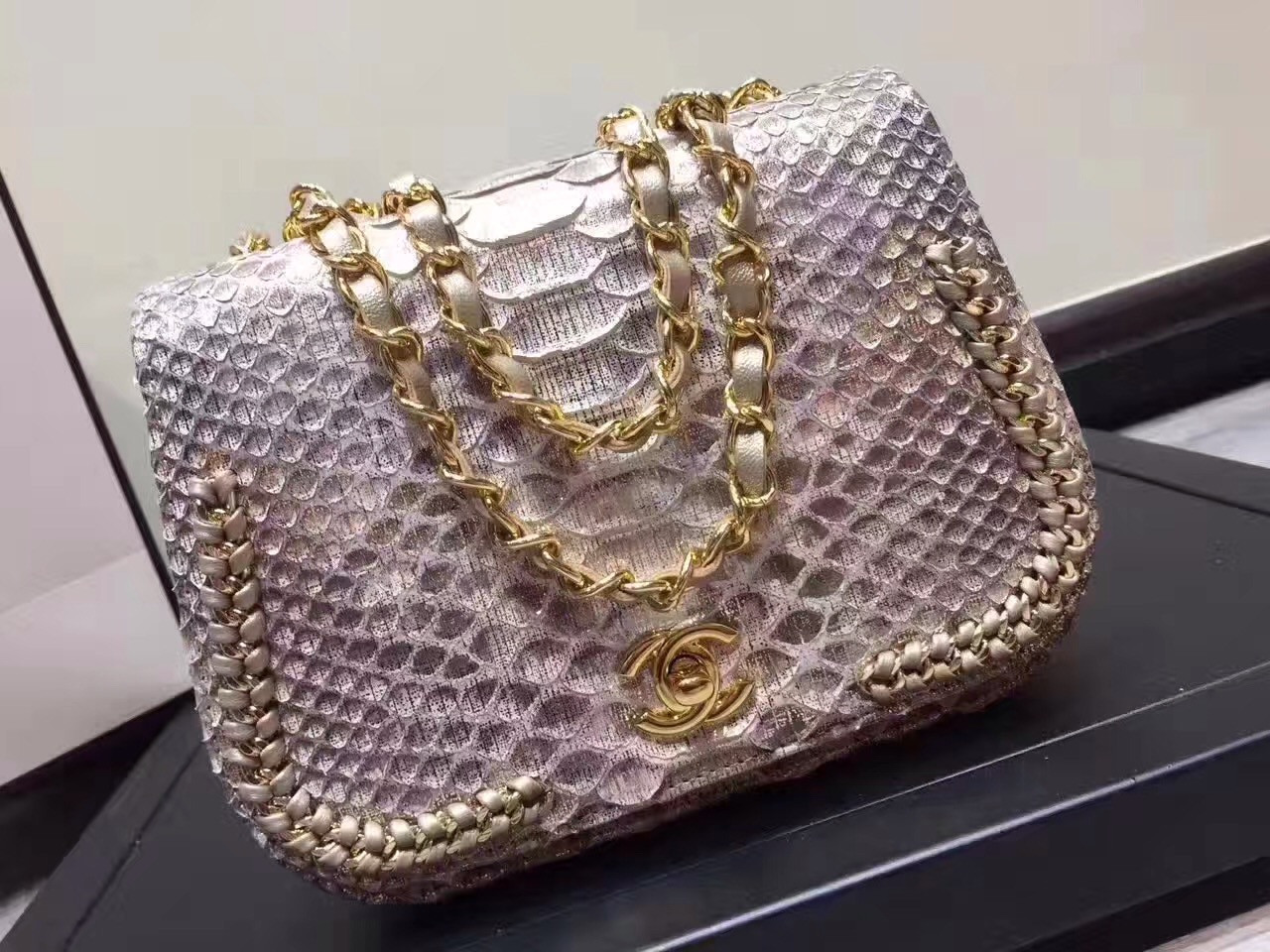 d17a10265c34 Chanel Flap Bag With Top Handle Python   Gold Metal Brown   White ...