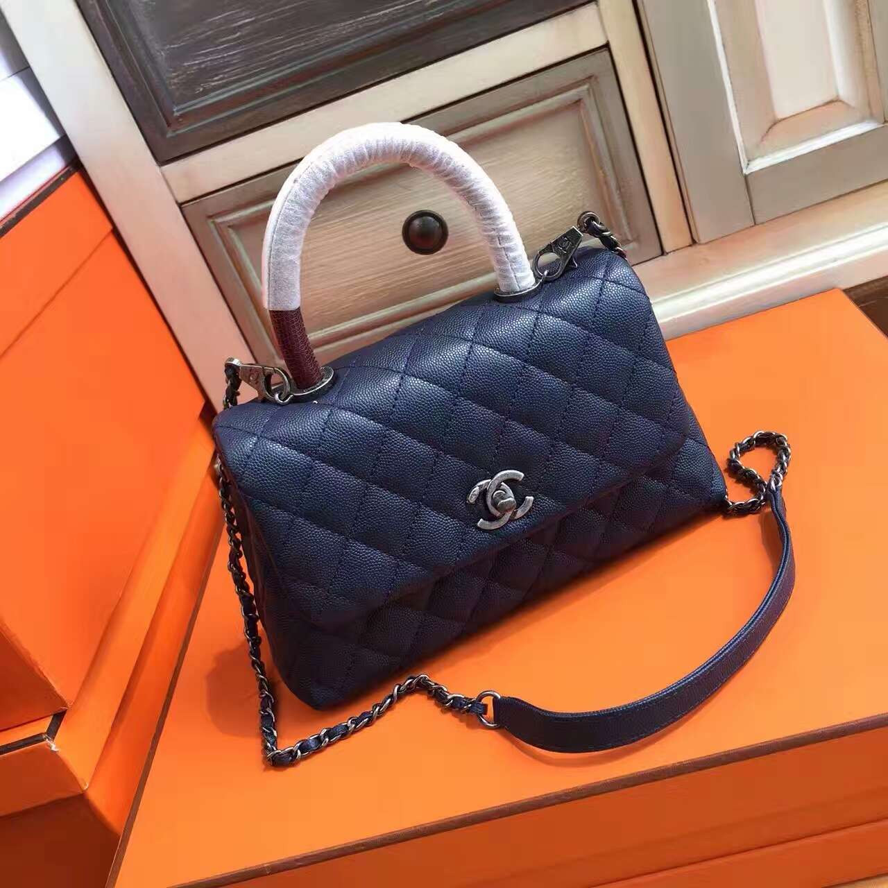 82c807e53774 Chanel Blue Calfskin/Lizard Coco Handle Small Bag - Bella Vita Moda