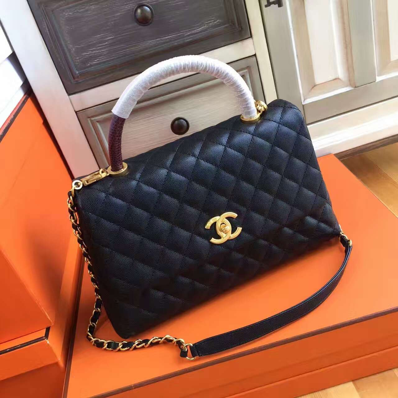 26fc5f5b8604 Chanel Coco Handle Bag with Lizard Handle Style Code A92992 - Bella ...