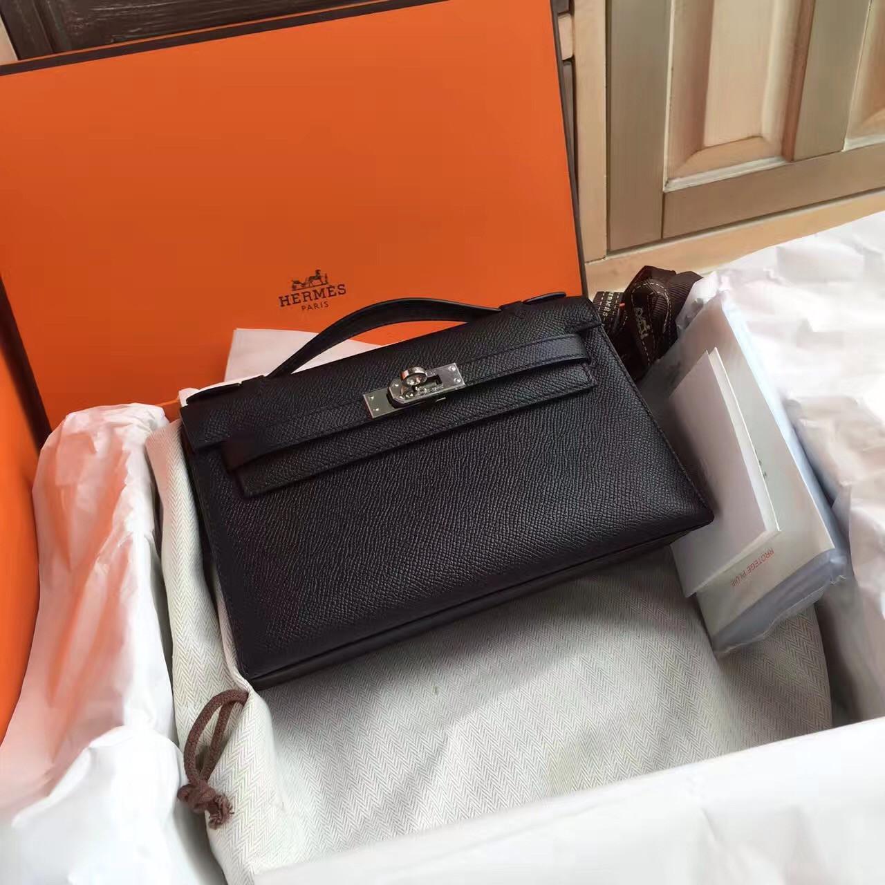 adbf0400c7cd Hermès Black Mini Kelly Pochette Epsom leather Palladium hardware