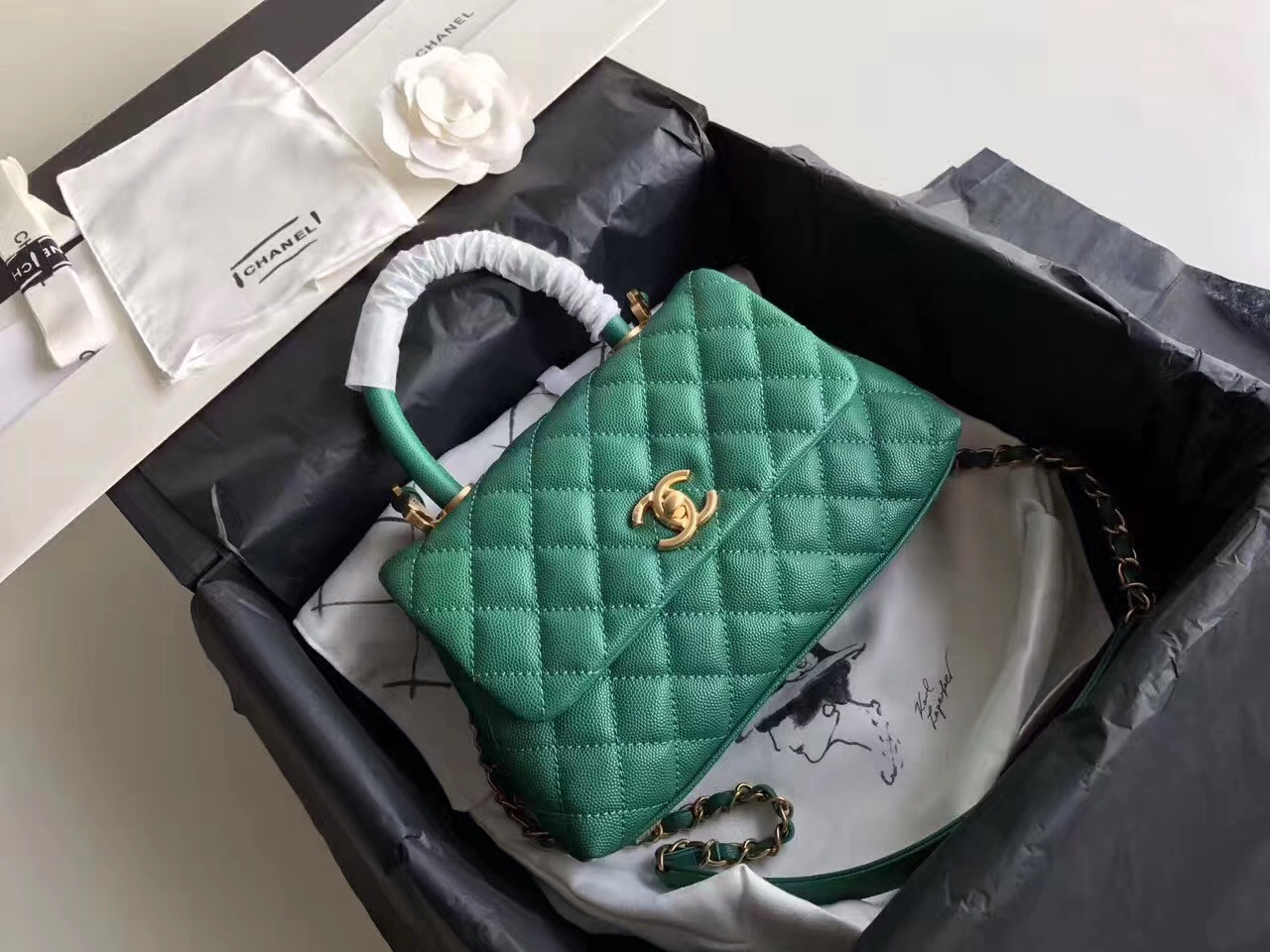 cadbe1fda6c5 Chanel Green Flap Bag with top handle A92991 - Bella Vita Moda