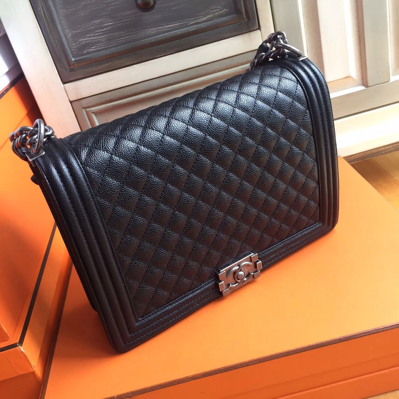 1f4ce9b4d8d Chanel Black Quilted Caviar Large Boy Bag - Bella Vita Moda