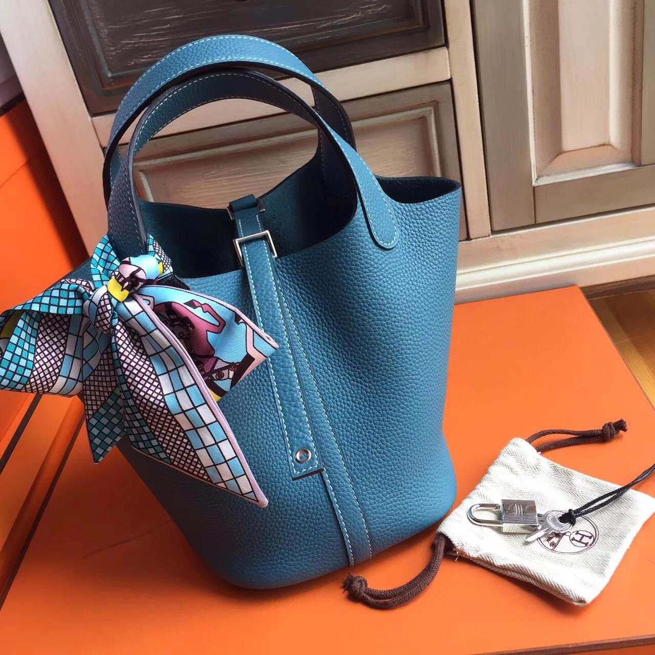5910029d4fcc Hermes 75 Blue Jean Picotin Lock 18 Togo Leather Bag - Bella Vita Moda