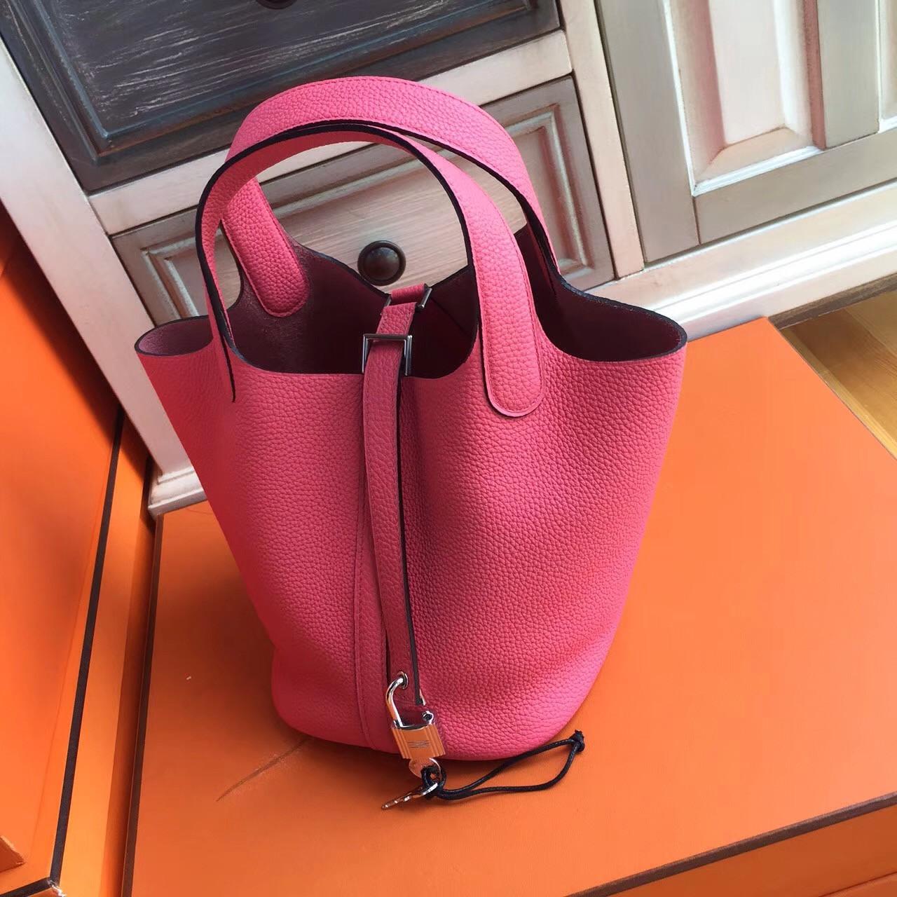 750779288211 Hermes E5 Rose Tyrien Picotin Lock 18 Togo Leather Bag - Bella Vita Moda