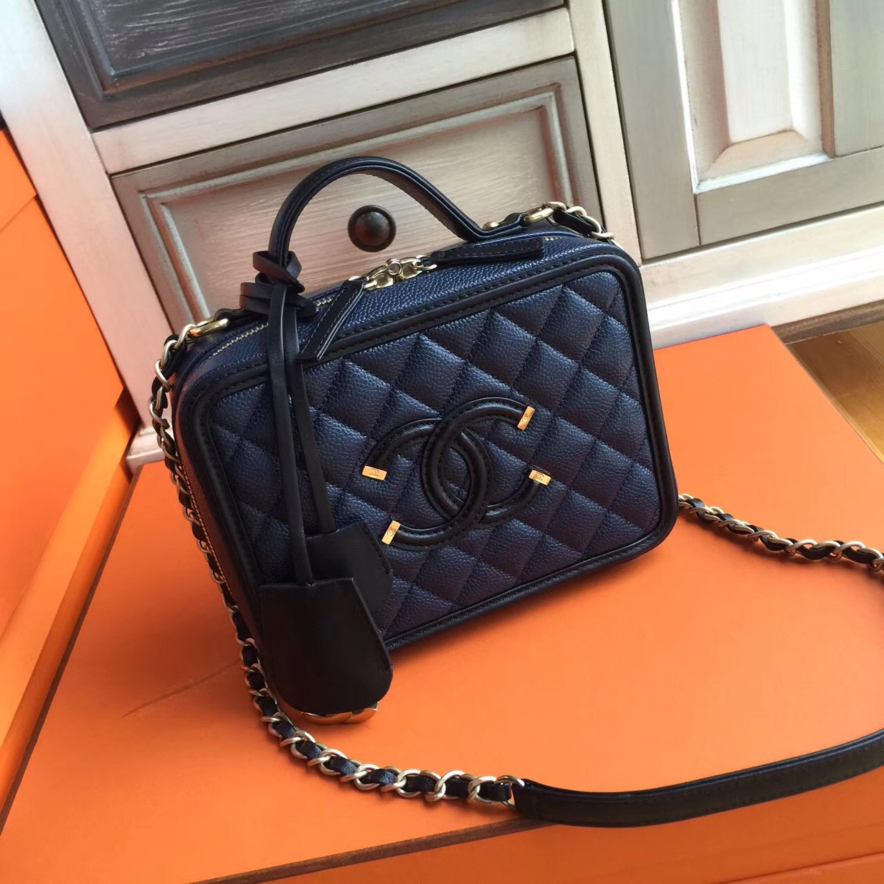 f24387f153b3b5 CHANEL CC FILIGREE VANITY CASE BAG Medium Black/Blue - Bella Vita Moda